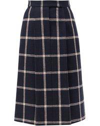 Thom Browne ハイライズ チェック ウールツイードスカート - ブルー