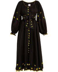 Gül Hürgel Lemon Embroidered Puff Sleeved Linen Dress - Black