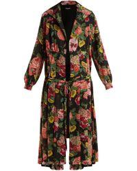Junya Watanabe - Wool Knit Floral Print Georgette Dress - Lyst