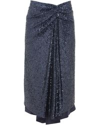 Sies Marjan カイラ ドレープ スパンコールスカート - ブルー