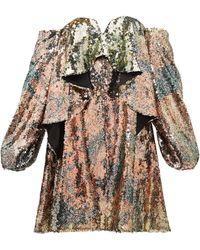 Halpern - Robe bustier à sequins drapée - Lyst