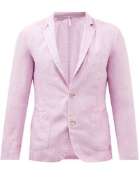 120% Lino Slubbed Linen-hopsack Suit Jacket - Pink