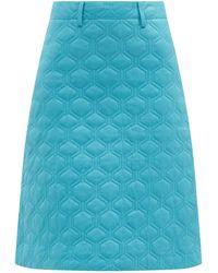 Dodo Bar Or エッシー キルティングレザースカート - ブルー