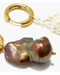 Timeless Pearly Mismatched Pearl & 24kt Gold-plated Earrings - Metallic