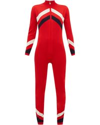 Perfect Moment Chevron-striped Merino Wool-knitted Jumpsuit - Red