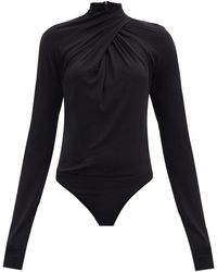 Petar Petrov Tiwa Draped Jersey Bodysuit - Black
