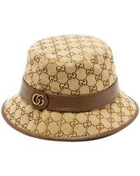 Gucci Gg Supreme Canvas Bucket Hat - Natural