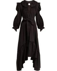 Horror Vacui Robe en coton à smocks Defensia - Noir