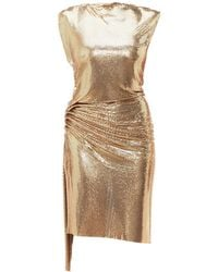 Paco Rabanne Gathered Chainmail Dress - Metallic