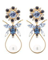 Erdem Crystal-bee And Faux-pearl Drop Earrings - Blue