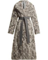 Stella McCartney - Tie Waist Faux Fur Coat - Lyst
