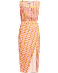 Altuzarra - Eleonora Gingham Print Silk Midi Dress - Lyst