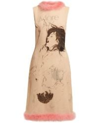 Christopher Kane - Feather-trimmed Printed Silk Dress - Lyst