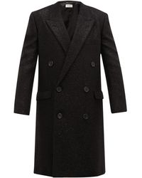 Saint Laurent Double-breasted Lurex Coat - Black