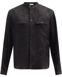 Saint Laurent スタンドカラー パームツリージャカード シルクシャツ - ブラック