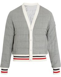 Moncler Gamme Bleu | Striped-trim Quilted Down Bomber Jacket | Lyst