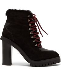 Valentino - Shearling Lined Suede Boots - Lyst