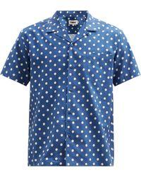 YMC マリック ポルカドット コットンブレンドシャツ - ブルー