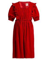 Shrimps - Malacky Ruffle Cotton-corduroy Babydoll Dress - Lyst