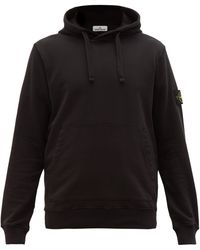 Stone Island Logo-patch Cotton-jersey Hooded Sweatshirt - Black