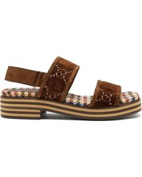 Gucci - Gg Supreme Stacked Sole Suede Sandals - Lyst