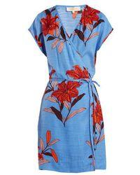 Diane von Furstenberg - Floral-print V-neck Silk-blend Wrap Dress - Lyst