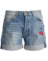 Bliss and Mischief - Cherry-embroidered Denim Shorts - Lyst