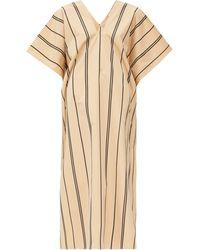 Jil Sander Striped V-neck Cotton-poplin Kaftan - Natural