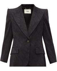 Fendi Singled-breasted Floral-jacquard Silk Blazer - Black