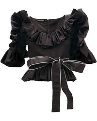 Germanier Ruffled Upcycled-satin Belted Blouse - Black
