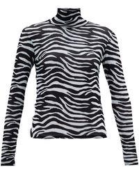 STAUD Zebra-print Roll-neck Mesh Top - Black