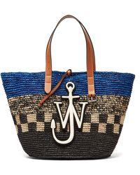 JW Anderson - Belt Logo-appliqué Woven-raffia Tote Bag - Lyst