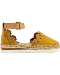 See By Chloé | Flower Laser-cut Suede Espadrilles | Lyst