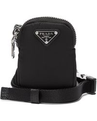 Prada Triangle Logo-plaque Nylon Pouch Phone Holder - Black