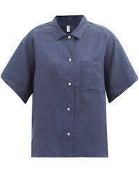 Rossell England Patch-pocket Linen Pyjama Shirt - Blue