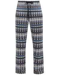 Meng - Checked Silk Pyjama Trousers - Lyst