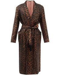 Tom Ford Leopard-print Silk-twill Robe - Brown