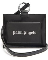 Palm Angels Iconic Leather Logo-patch Neck Cardholder - Black