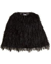 OSMAN - Raven Ostrich Feather Embellished Cape - Lyst