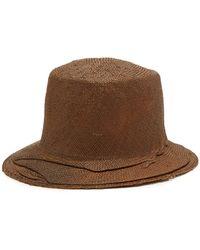 Reinhard Plank Winkled Straw Bucket Hat - Brown