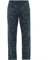 Desmond & Dempsey Byron-print Cotton Pyjama Trousers - Blue