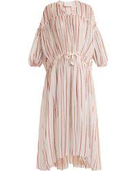 LOVE Binetti Drawstring-waist Striped Cotton Dress - Multicolour