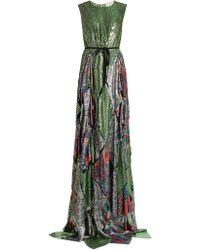 Maison Rabih Kayrouz Multi-jacquard Silk-blend Lamé Gown - Green