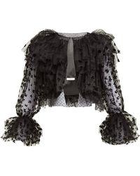 Erdem Stefania Ruffled Flocked Tulle Jacket - Black