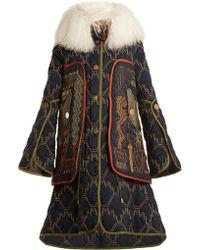 Peter Pilotto Graphic-embroidered Fur-trimmed Coat - Multicolour
