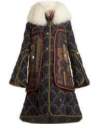 Peter Pilotto - Graphic-embroidered Fur-trimmed Coat - Lyst