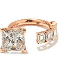 SHAY フローティング プリンセス ダイヤモンド 18kローズゴールドリング - マルチカラー
