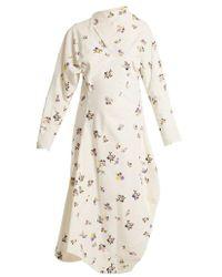 Acne Studios - Dragica Floral-print Cotton-corduroy Dress - Lyst