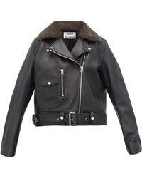 Acne Studios Merlyn Shearling Collar Leather Biker Jacket - Black