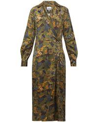 Ganni Camouflage-print Satin Wrap Dress - Green